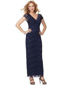 NICE MOG DRESS  Marina Dress, Short Sleeve V-Neck Beaded Lace Evening Gown - Dresses - Women - Macy's