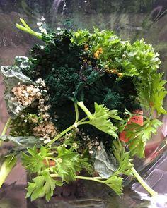 In my smoothie : spirulina, hemp seeds, bee pollen, kale, parsley, banana, apple, ½ cup spring water