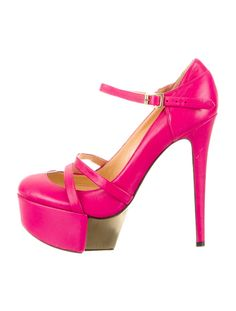 Pink leather Versace round-toe platform pumps with gold-tone hardware, tonal stitching and buckle closure at ankles.
