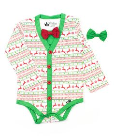 Look at this Green & Holiday Nordic Bodysuit & Bow Ties - Infant on #zulily today!