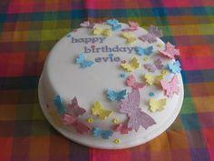 Multicoloured Butterflies Girl's Birthday Cake