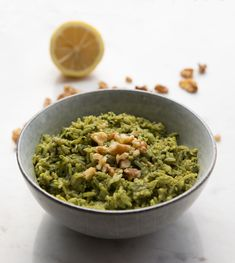 A quick and delicious spinach sauce adorns this healthy rice dish.