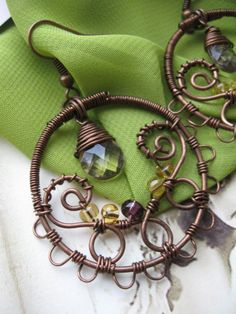 Wire Wrapped Copper Filigree Dangle Hoop Earrings with by Lirimaer, $37.00