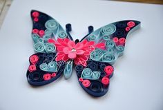 Quilling Pink and blue butterfly