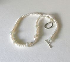 White Pearls and Lampwork Beads Necklace with by Smokeylady54