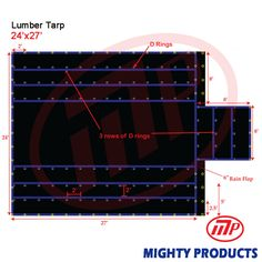 24' x 27' Mighty Flatbed Truck Tarp - Light Weight Lumber Tarp with 8' Drop, Grey