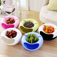 Cherries Peanuts Multifunctional Household Dried Fruit Storage Tray Candies Double Layer Fruit /& Nutshell Snack Bowls Blue Nuts Storage Dishes for Pistachios