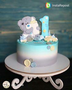 Мишка на год Buttercream Cake, Fondant Cakes, Cupcake Cakes, Sweet Cakes, Cute Cakes, Beautiful Cakes, Amazing Cakes, 1st Year Cake, Friends Cake