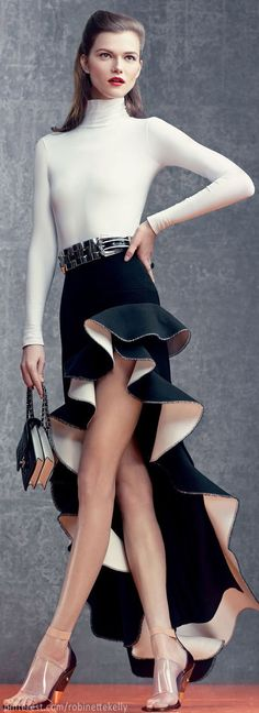 Kasia Struss | Vogue US, April 2013, a special party design. The structure of the skirt is sculpture-like. Amazing.