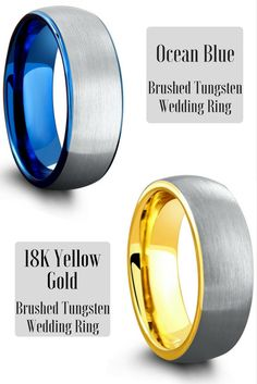LOVE these mens tungsten wedding rings. Both have a silver brushed textured top. The top ring has a ocean blue interior. The bottom ring has a 18k yellow gold interior.