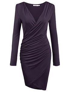 Long Sleeve Deep V-neck Pencil Dress Bodycon Party Knee Dress (6 Colors) #bodycondresslongsleeve