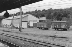 New Zealand Railways Upper Hutt goods shed and wagons, seen from the station platform - 1990s. Upper Hutt City Library