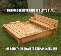 Is there a child anywhere who doesn't love playing in sand? Here's a great DIY sandbox that keeps the sand in and the neighbourhood cats out. Learn how to make this by viewing the full album including a link to instructions on our site at http://theownerbuildernetwork.co/9zwm Would the kids in your family like this?