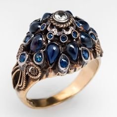 Vintage Sapphire Princess Ring Silver Topped 14K Gold