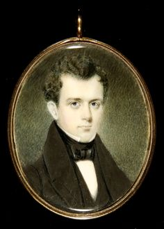 Miniature portrait of a man, painted in watercolor on ivory and in a gilt copper case. Probably New England. Circa 1835-1840.