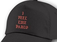 """""""I Feel Like Pablo"""", I Feel Like Pablo Cap, Pablo Hat, Black Cap, Kanye West, Yeezy, Yeezus, The Life of Pablo, High Quality Cap, Pop Up Tour Merch, Pablo.    Black """"I FEEL LIKE PABLO"""" Cap  Black """"I FEEL LIKE PABLO"""" Hat  Kanye West TLOP Cap    -Double Stitch,  -Top Quality,  -Front Vinyl Red Press,  -Adult One Size fits all  -Accessories,  -Hats & Caps,  -Baseball & Trucker Caps,       Description:   (Hand-Made)   Vinyl Use For A Greater Quality Finished Product.    Delivery:  1 - 2 Days…"""