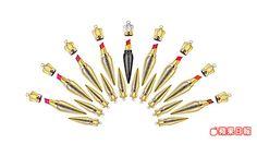 紅色唇膏包裝管為黑色,紫紅、粉紅等他色唇膏包裝管為金色。