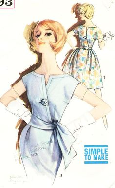 Simplicity 3993 - Used vintage pattern. The pattern pieces are cut. The pattern pieces are in very good condition. The instruction sheet is Motif Vintage, Vintage Dress Patterns, Vintage Dresses, Vintage Outfits, Vintage Clothing, Corsage, Fashion Through The Decades, Retro Fashion, Vintage Fashion