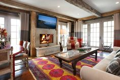 Living with Color  Family Room by Judy King Interiors
