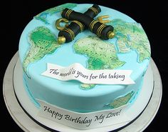 World Map Cannon Cake Birthday Cake For Him, Adult Birthday Cakes, Retirement Party Cakes, Map Cake, Diva Cakes, Movie Cakes, Queen Cakes, Travel Cake, Rolling Fondant