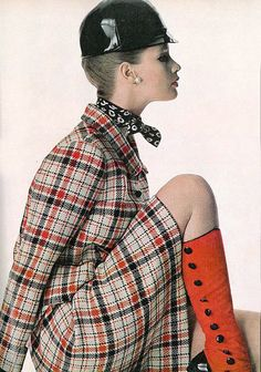 1966 Celia Hammond in checked suit from Molyneux ready-to-wear collection, jockey cap by Adolfo, gaiters by Evans, photo by Penn, Vogue