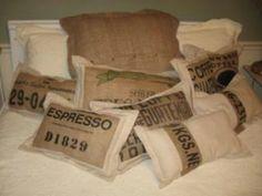 Coffee sack pillows