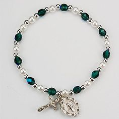 Elegant May Birthday First Communion Stretch Bracelet with Rhodium Plated Miraculous Medal and Crucifix. Stretches to Fit Any Size. * Be sure to check out this awesome product.