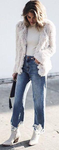 #winter #fashion /  White Faux Fur Jacket / White Turtleneck / Bleached Denim