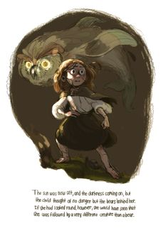"I revisited a fantastic Scottish fairytale called ""The Golden Key"" that my sister sent to me over a year ago. Check it out! # illustration girl owl scared scary animal monster color palette"