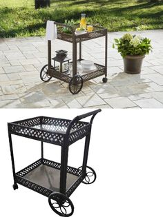 Bar Carts And Serving Carts 183320: Outdoor Serving Cart Homes And Gardens  Wicker 2 Shelves