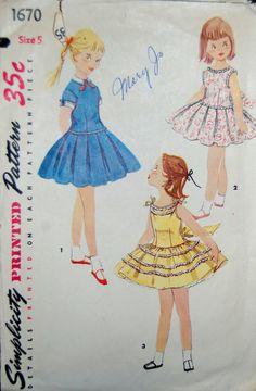 Vintage 1950s Simplicity Girls Dress Pattern by NostalgiaVintage2, $8.00