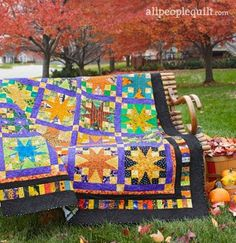 This Halloween themed quilt pattern is not as obvious as some of the Halloween quilts out there, so it's perfect for all of fall. You have to look close to see the little Halloween prints aro… Fall Sewing Projects, Halloween Projects, Halloween Themes, Happy Halloween, Halloween Decorations, Halloween Diy, Craft Projects, Halloween Quilt Patterns, Halloween Quilts