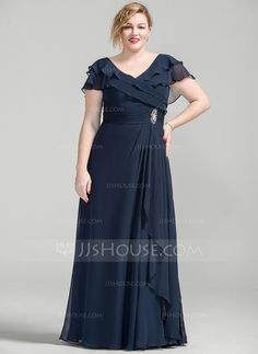 A-Line/Princess V-neck Floor-Length Chiffon Mother of the Bride Dress With Crystal Brooch Cascading Ruffles (008077027) - JJsHouse