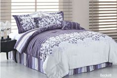 (Click to order - $96.00) Duck River Textile Beckett King Comforter Set, Purple/Grey From Duck River Textile