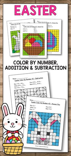 Easter Math Worksheets for preschool, kindergarten and first grade are fun with these classroom activities created for practicing addition and subtraction are perfect for morning work, test prep, early finishers and more. The kids will enjoy using this hundreds chart mystery pictures to solve math problems and color them. These printables will save you time and will give you more teaching ideas to make learning fun for the kids. Add these Easter coloring pages in your classroom now!