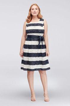 eb85dc5729c Striped Lace Plus Size Dress with Ribbon Sash Style RB60179WDA
