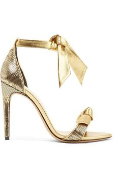 Alexandre Birman's Gold Sequined Leather with Ankle-Ties. Heel measures approximately 100mm/ 4 inches