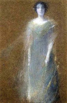 Unknown Woman in 1890 by Thomas Dewing. Pastel on brown wove paper, mounted overall to pulpboard. Brooklyn Museum.