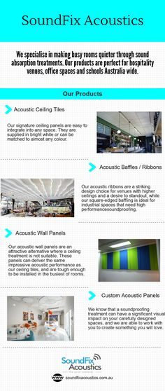 SoundFix Acoustics are expert in acoustic foam panels at low prices that will reduce the noise indoors and eliminate echoes. SoundFix acoustic offers acoustic wall panels, acoustic baffles/ribbons, acoustic ceiling tiles and custom acoustic panels in Australia.