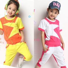 New 2014 Summer Conjuntos Children Clothing Set Brand Fashion Girls Sports Suit Kids Geometric Print T Shirts, Casual Shorts $17.99