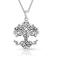 Small Celtic Knot Tree of Life Sterling Silver Pendant ($21) ❤ liked on Polyvore featuring jewelry, pendants, theme jewelry, sterling silver jewellery, celtic knot pendant, circular pendant, chain pendant necklace and circle pendant necklace