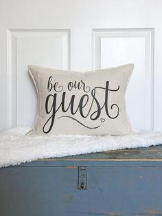 Be Our Guest Frayed Pillow Cover - Entryway Decor - Guest Room Decor - Guest Pillow - Cotton Duck Canvas - Zipper Back Closure - Be Our Guest Pillow by lovingLeighYours **Guest Bedroom** So cute! Basement Guest Rooms, Guest Room Decor, Guest Room Office, Guest Bedrooms, Design Seeds, Home Office, Interior Design Trends, Farmhouse Bedroom Decor, Pillow Room