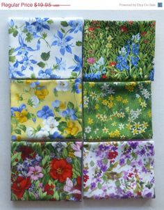 WEEKEND SALE - Cotton Fabric, Quilt Fabric, Home Decor, Fat Quarter Bundle of 6,Floral Group #2, Fast Shipping, FQ191