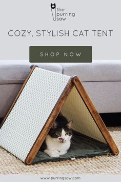 This Christmas cat bed is a cozy, stylish cat tent with an adorable pine tree design. Perfect for an outdoorsy cat lover! #catbed #cattent #catfurniture
