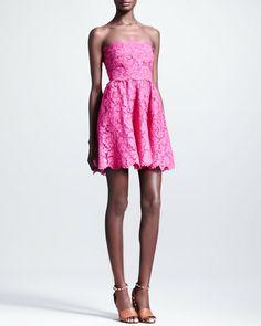 Short Strapless Lace Dress Fuchsia - Lyst Valentino Resort 1fb3e3ab8606e