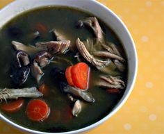 Green Chicken Soup --- INGREDIENTS: chicken stock, kale, carrots, shiitake mushrooms, shredded chicken