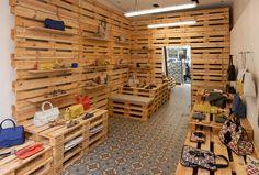 Tila March temporary shop, Paris.  Low cost fabulous décor and pop-up merchandising shelves-- Popup Republic