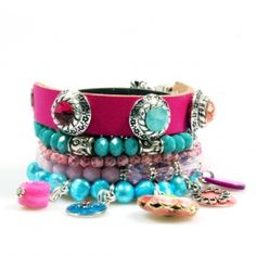 Bracelet made of leather and beads with Swarovski colored in #Ibiza style by Catena Sieraden #jewelry