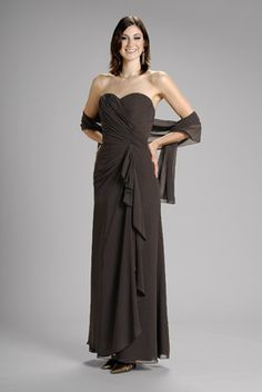 2015 Sweetheart Shawl Brown Ruched Sleeveless Ankle Length A-line Mother of the…