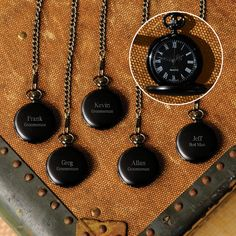 Groomsmen Gift Set of 5 Personalized Midnight Pocket Watches.